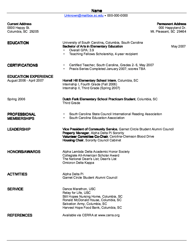 Example Of Elementary Education Resume  HttpExampleresumecv