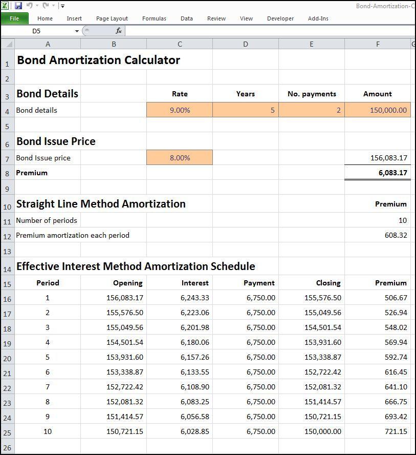 bond amortization calculator Calculators Amortization