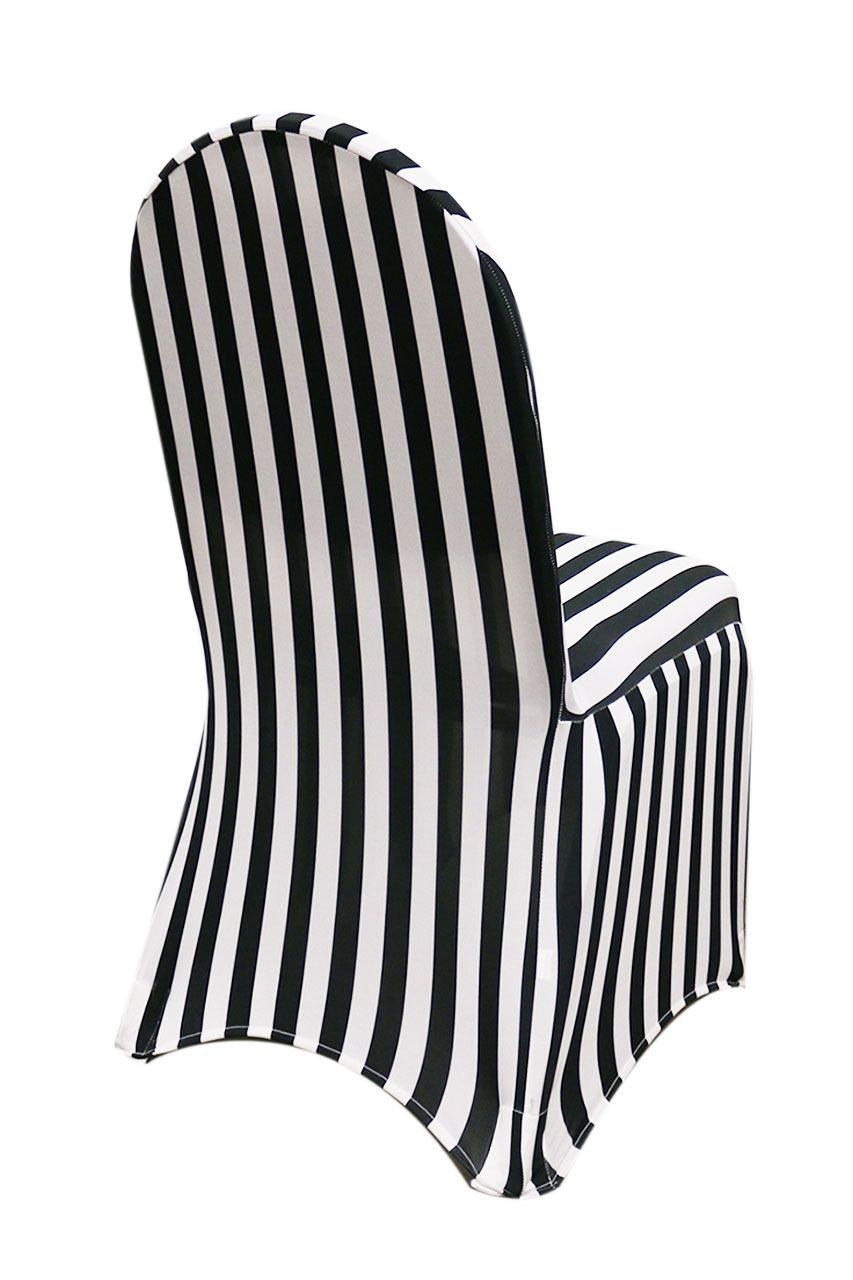 Your Chair Covers Stretch Spandex Banquet Chair Cover Black And White Striped In