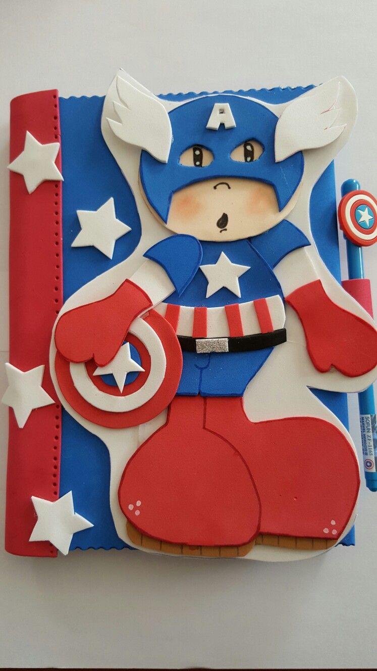 Cuaderno capitán america goma eva | cuadernos forrados en foami ...