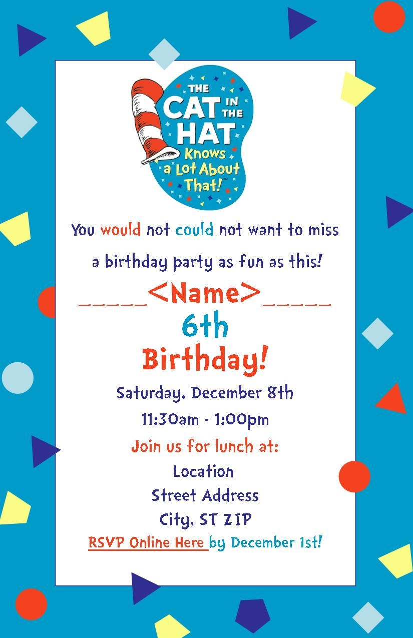 Cat in the Hat Knows a Lot About That! Party invitation. Made in ...