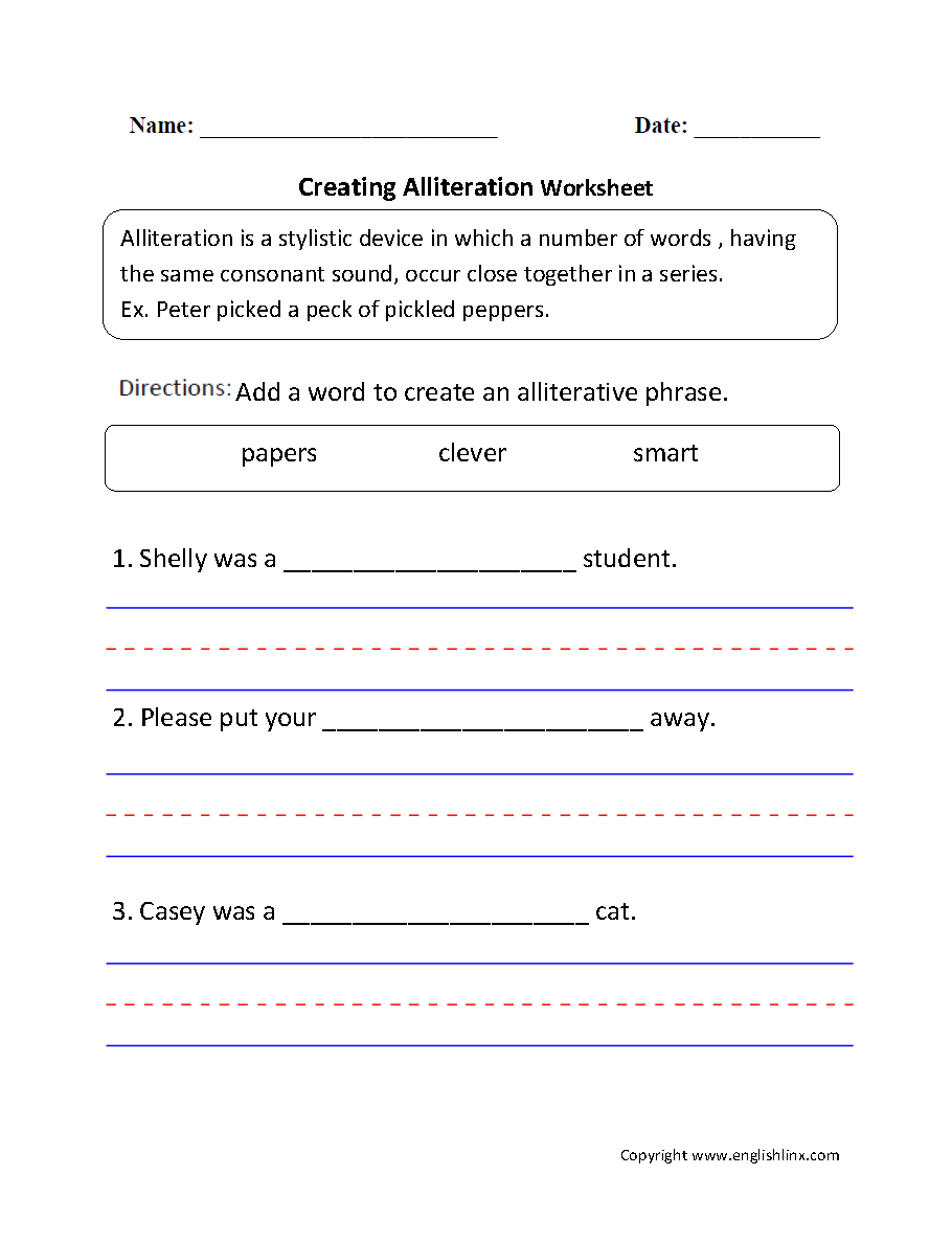 Alliteration Worksheets: Sounds in Alliteration Worksheet   Englishlinx com Board    ,