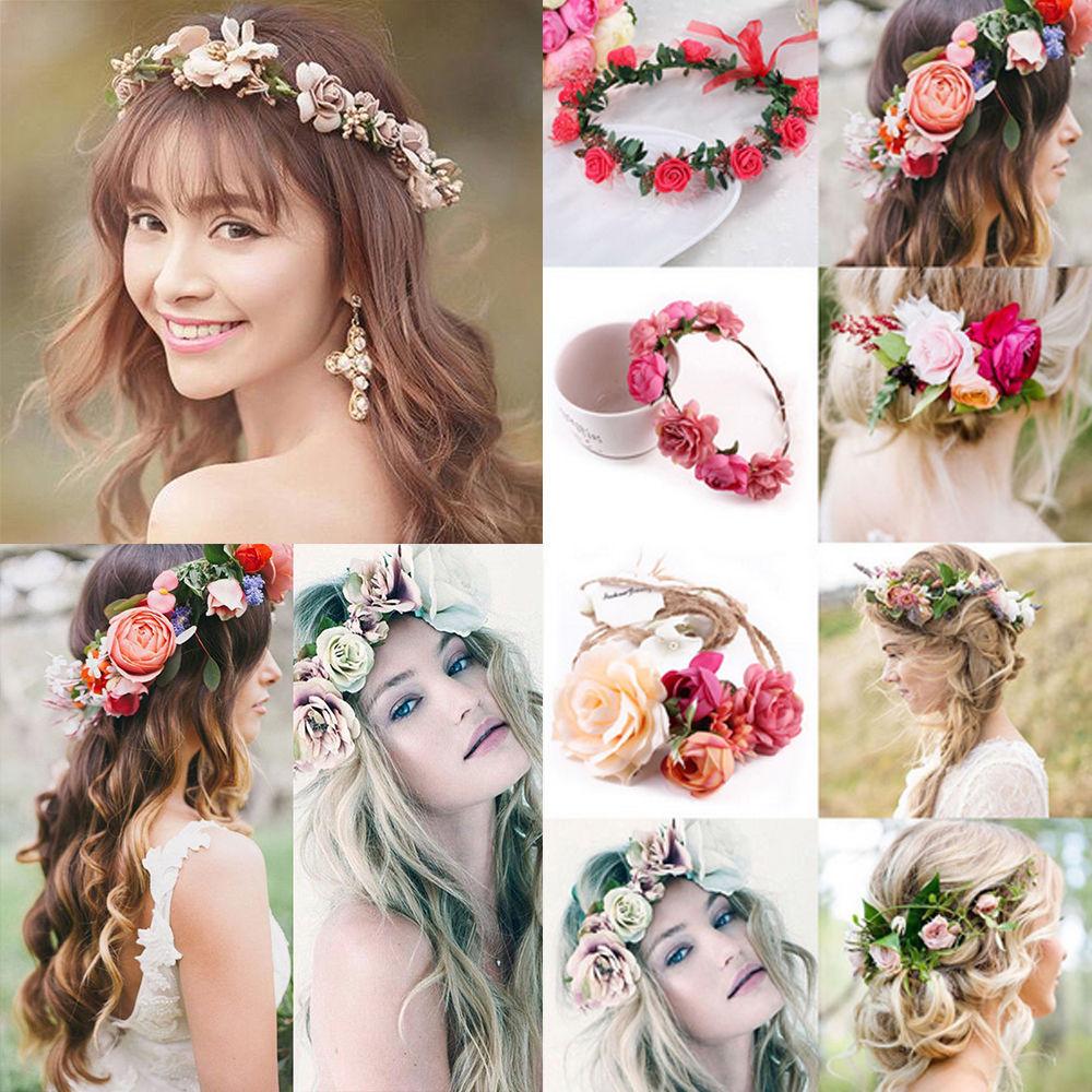 1.0aud - women wedding big flower wreath crown headband
