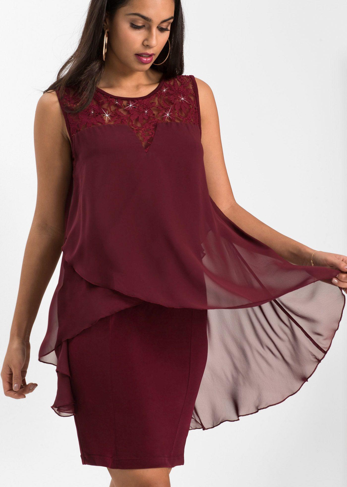 849e25cdfeec24 Kleid aus Jersey und Chiffon dunkelrot jetzt im Online Shop von bonprix.de  ab ? 39,99 bestellen. Ein Traum aus weichem Jersey, leichtem Chiffon und  feiner .