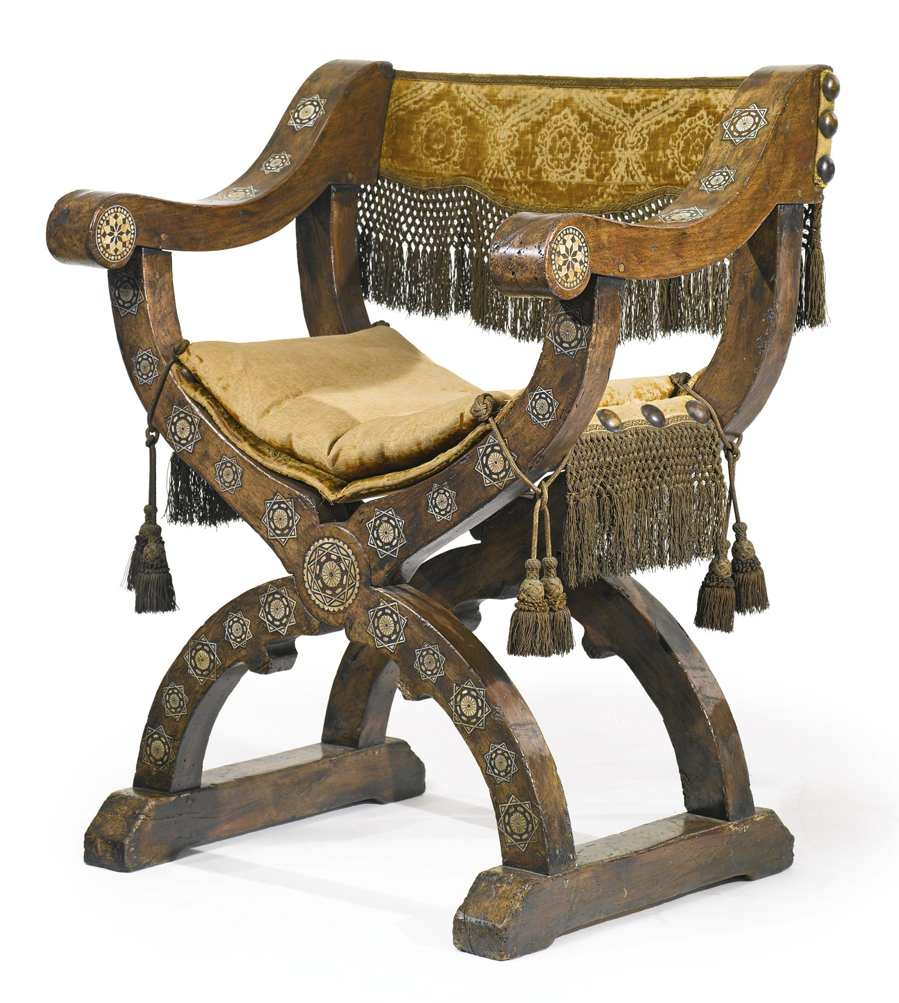 Chaise Medieval A Nasrid Or Post Nasrid Ivory Inlaid Walnut Chair