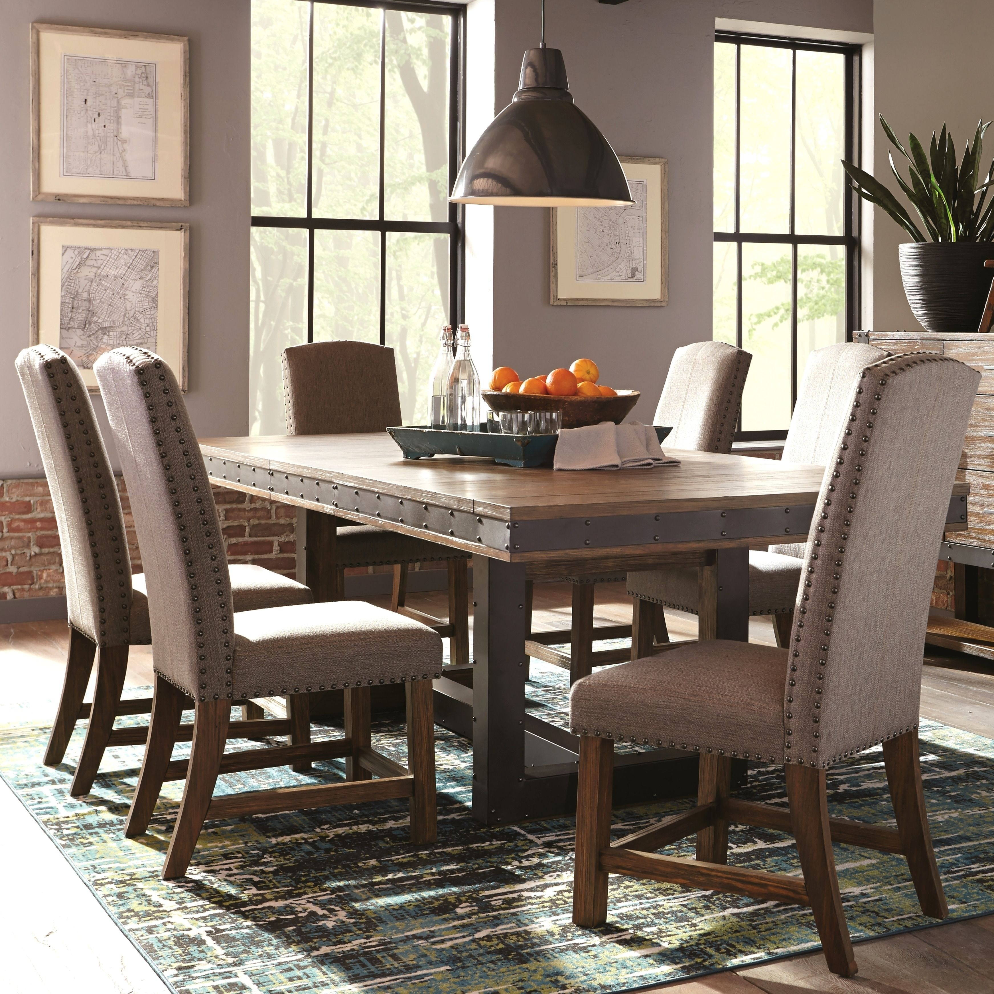 Industrial Rustic Design Metal And Wood Dining Set With Nailhead
