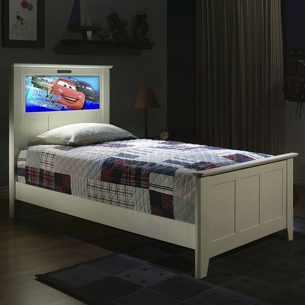 LightHeaded Beds Satin White Twin Bed with Changeable Back