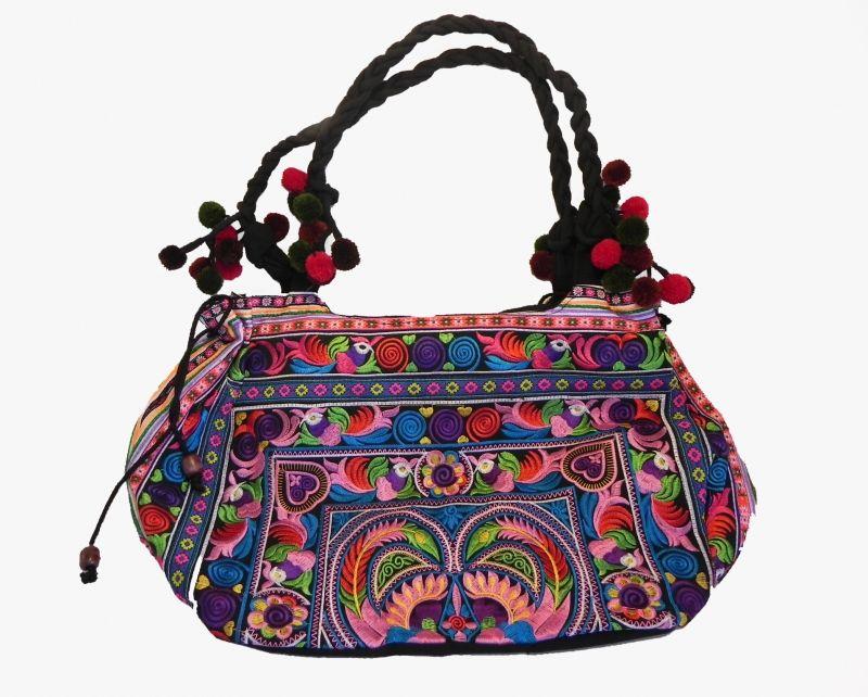 de a mano carteras hecho seda y bordado con Tailandesa Bolso hilos fqpYZBBn