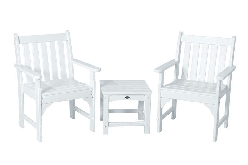 Polywood Pws142 1 Wh Vineyard 3 Piece Garden Chair Set In White
