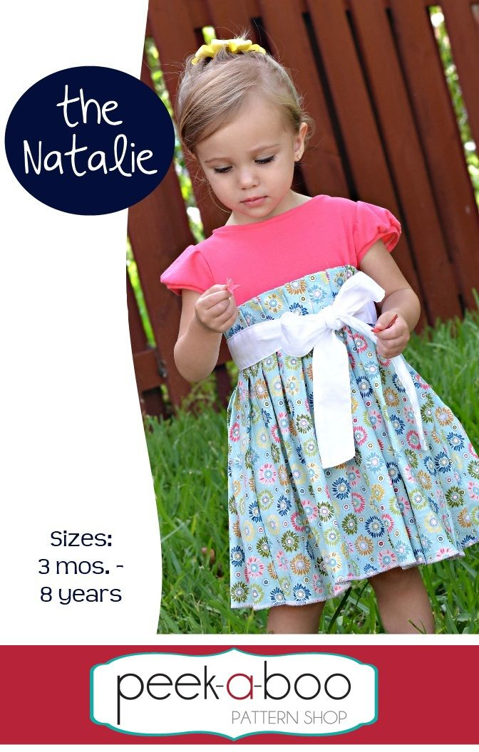 fairytlae frocks and lollipops :: peek-a-boo pattern shop, amy hindman, peek a boo pattern shop, natalie dress, knit, woven, sash, pleat, short sleeve, cap sleeve, spring, summer, bow, boutique, girl, baby, infant, toddler, school, church, party, birthday, sewing, instant, digital, download, pdf, e-pattern, e-book, epattern, ebook, tutorial, digipattern, diy, d.i.y.
