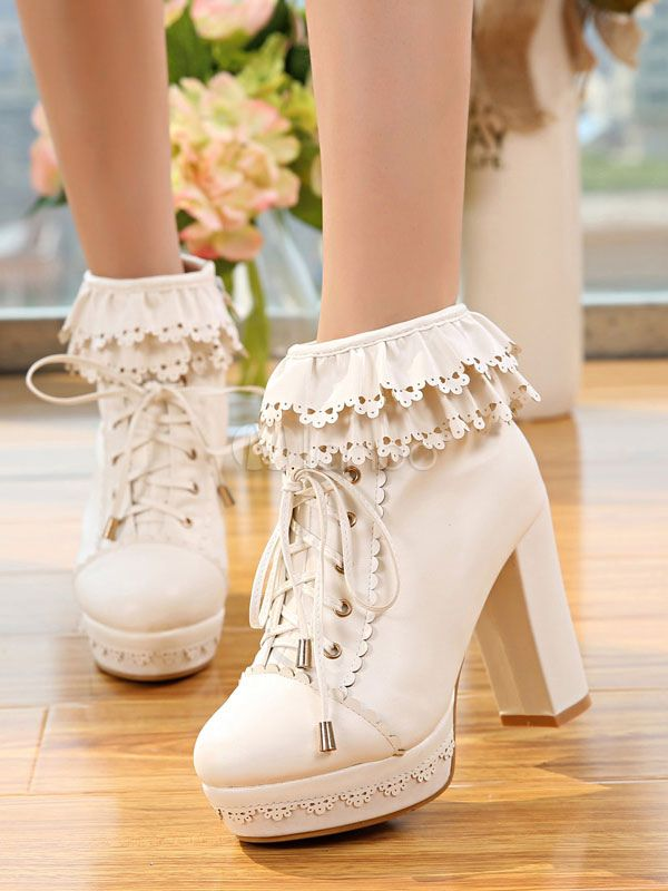 c461a9766707 White Lolita Boots Platform Chunky Heel Scalloped Lace Up Ankle Boots