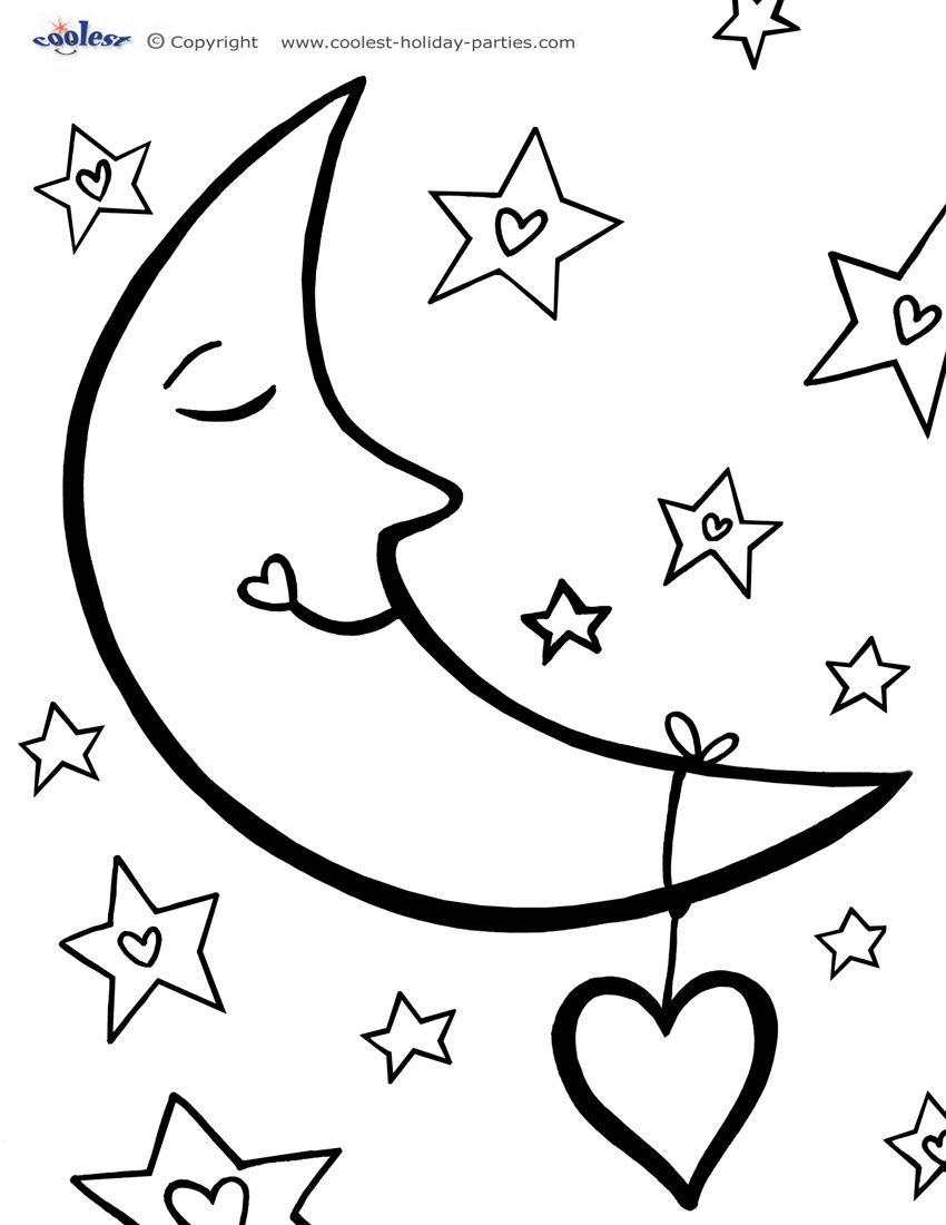 Printable Love Moon Coloring Page Moon Coloring Pages Star Coloring Pages Valentine Coloring Pages