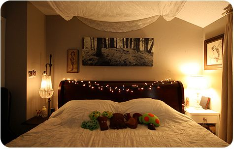 Looking for a little extra light in your room? Here's an awesome trick to brighten up your space. Get a canvas and apply stickers, decals, etc. and then spray paint with whatever color you want. After you peel off the designs, hang white lights (like Christmas lights!) behind it and check out the pretty design that becomes illuminated!
