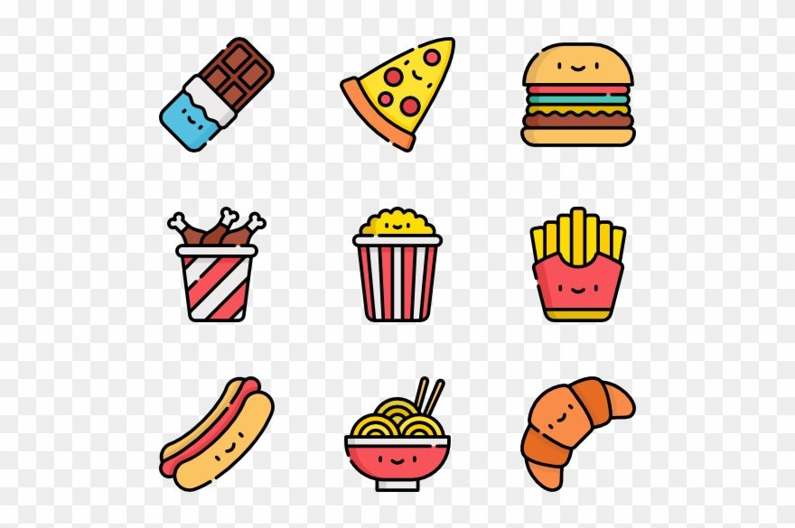 Download Hd Clip Art Black And White Stock Icon Packs Vector Svg Kawaii Junk Food Png Transparent Png And Use The Free Clip Stock Icon Clip Art Free Clip Art