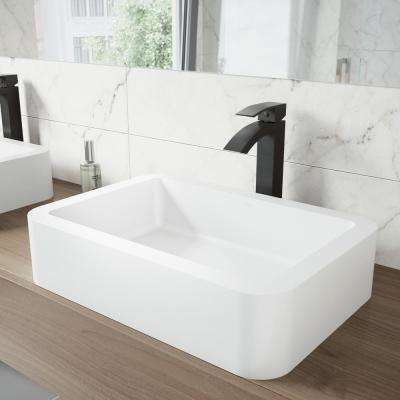 Navagio Matte Stone Vessel Sink in White with Duris Bathroom Vessel