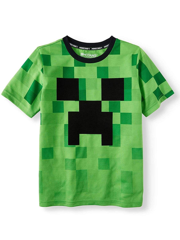 Green Grey Black Minecraft Boys T-Shirt