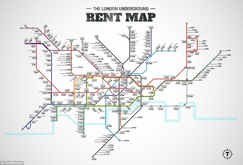 new london underground map reveals how expensive rent is at each stop