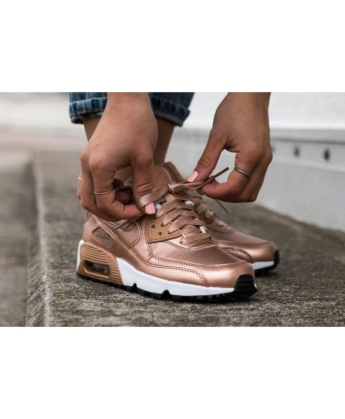 reputable site 24f63 5f396 Nike Air Max 90 Leather Rose Gold Se Metallic Trainer