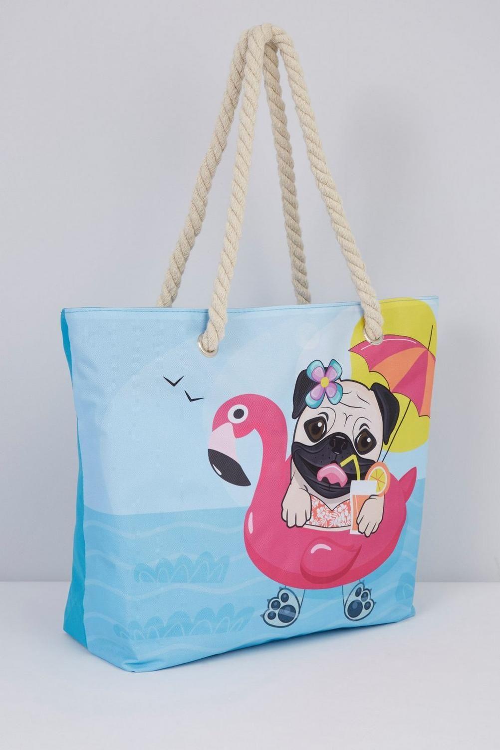 56a8e852b43e Image for Pug Beach Bag from studio   Flamingo!   Flamingo beach ...