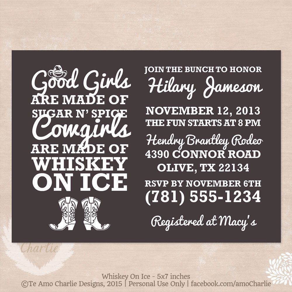 Whiskey on Ice Cowgirl Bachelorette Party Invitations - Western ...