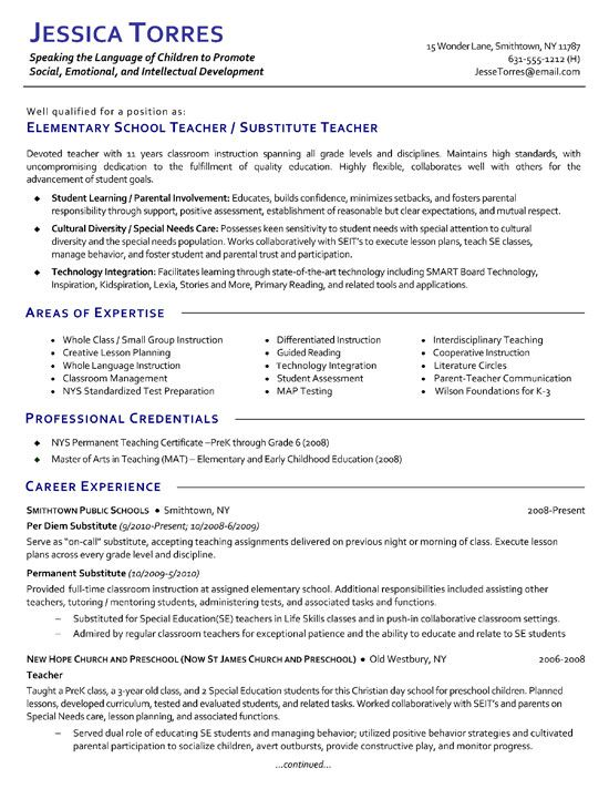 Substitute Teacher Resume Example  Examples Of Elementary Teacher Resumes