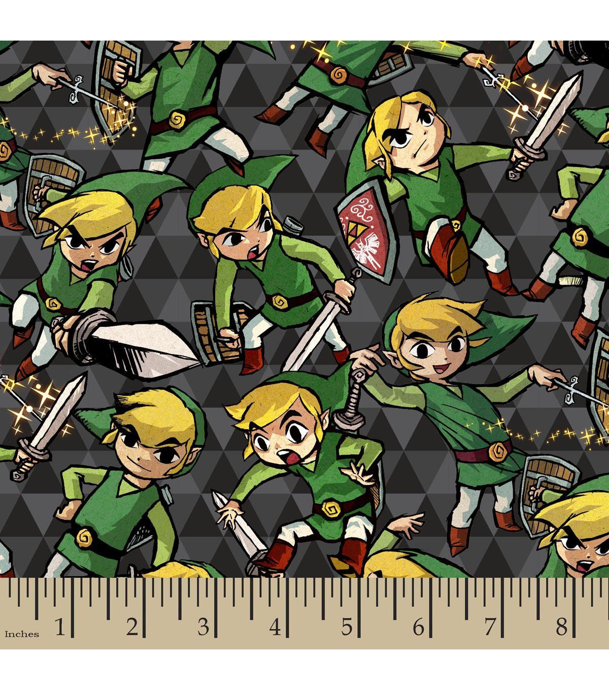 Nintendo the legend of zelda sword and shield flannel fabric