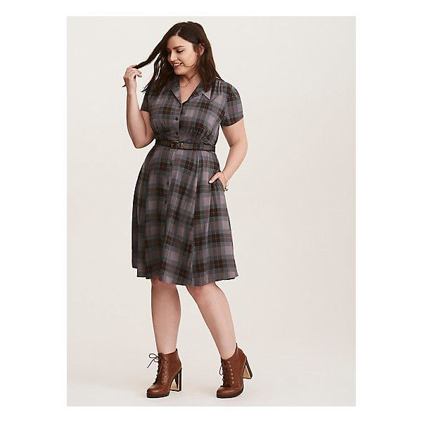 a6f07daca0f10 Torrid Outlander Mackenzie Tartan Shirt Dress ( 49) ❤ liked on Polyvore  featuring dresses