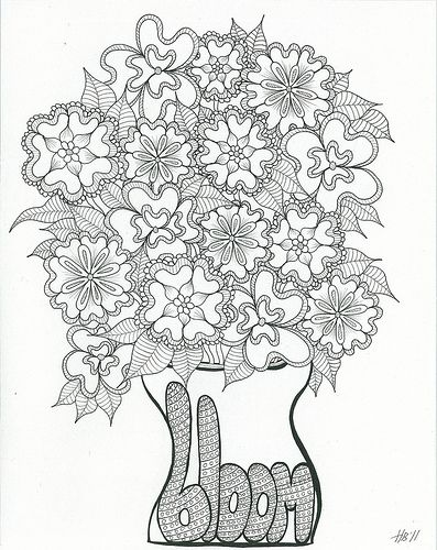 Bloom, Art Coloring Page  A Gift For You Colored pencils, Adult - fresh doodle coloring pages printable