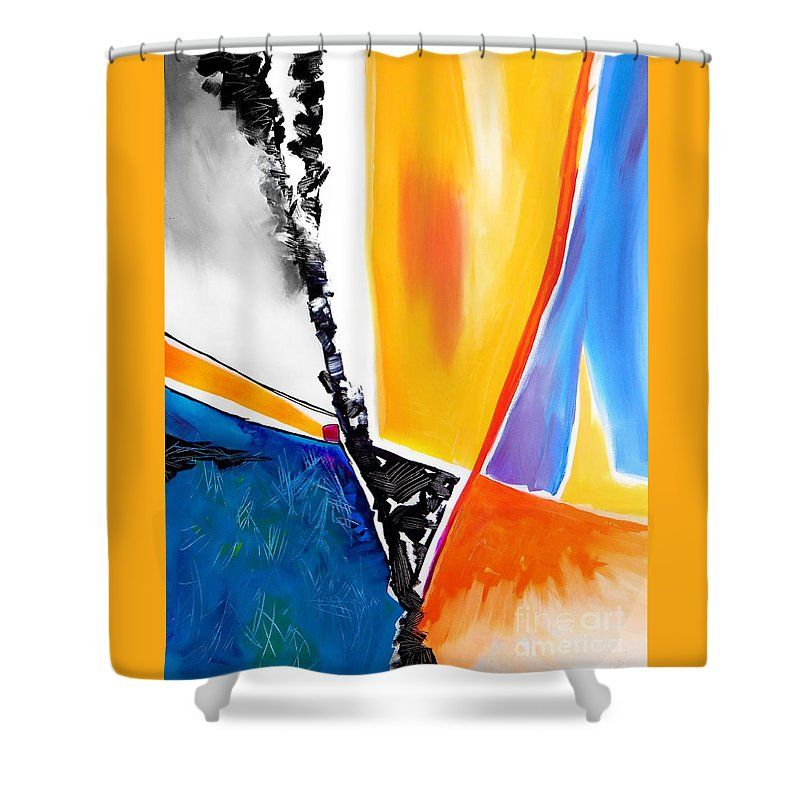Yellow With Turquoise Dominates This Very Contemporary Shower Curtain featuring the painting Untitled Contemporary by Expressionistartstudio Priscilla-Batzell