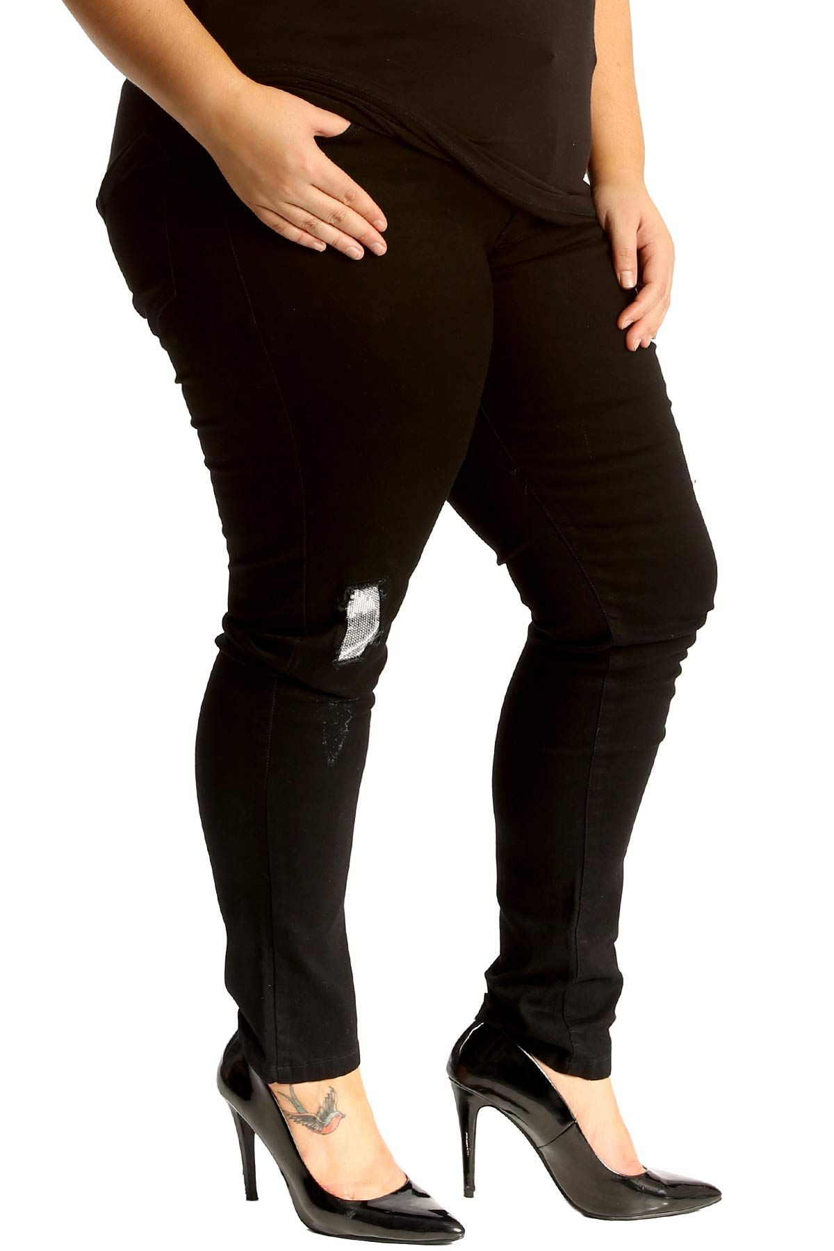 8cf3778d9f6 Fashion Bug. Silver Sequin Patched Ripped Jeans Black 20 www.fashionbug.us   plussize  fashionbug  jeans