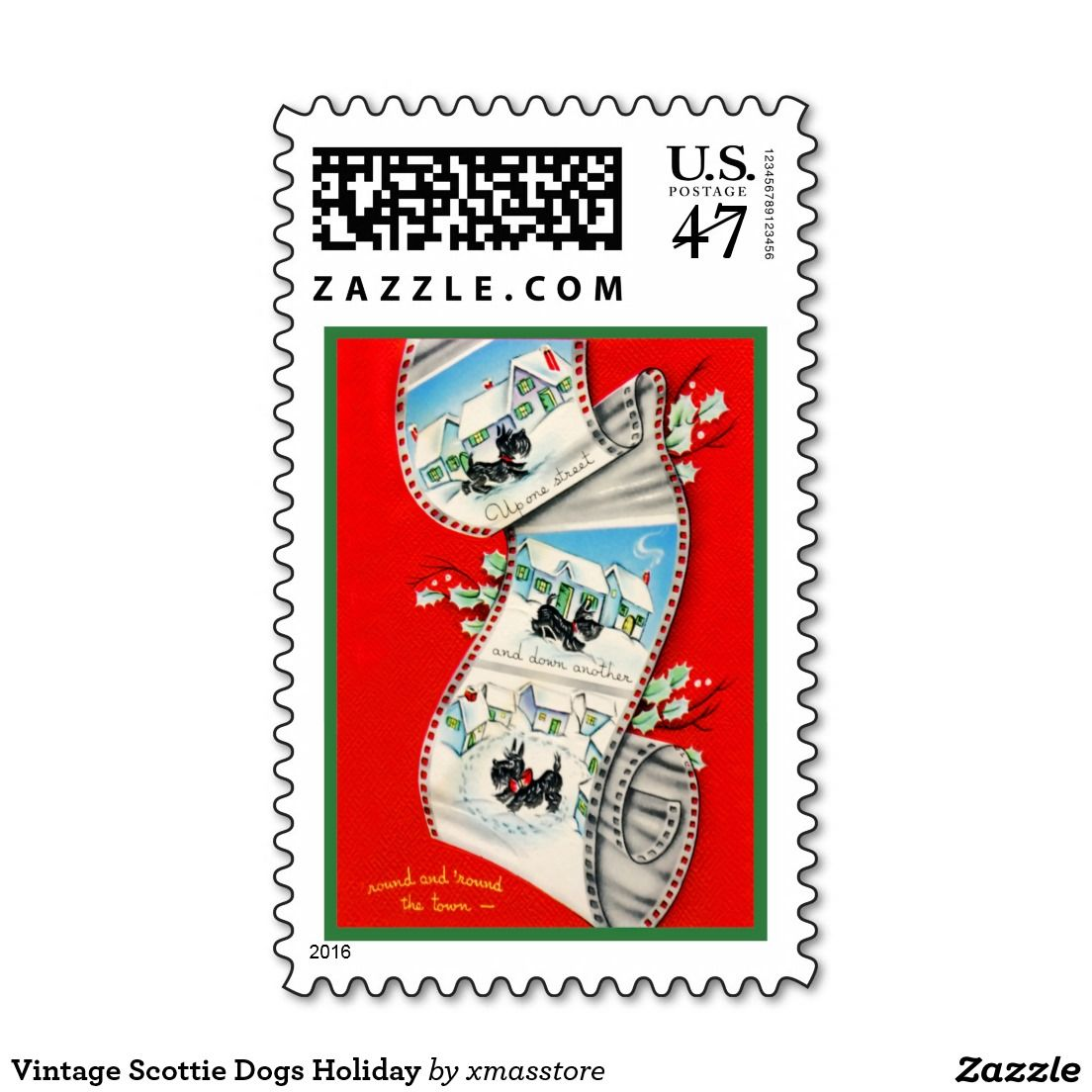 Vintage Scottie Dogs Holiday Postage