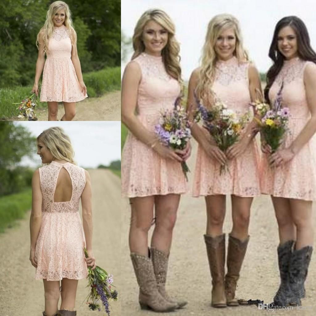 Blush pink lace short country bohocowboly bridesmaid dresses 2018 blush pink lace short country bohocowboly bridesmaid dresses 2018 high neck keyhole vintage maid of honor wedding party guest gown cheap mermaid wedding ombrellifo Image collections