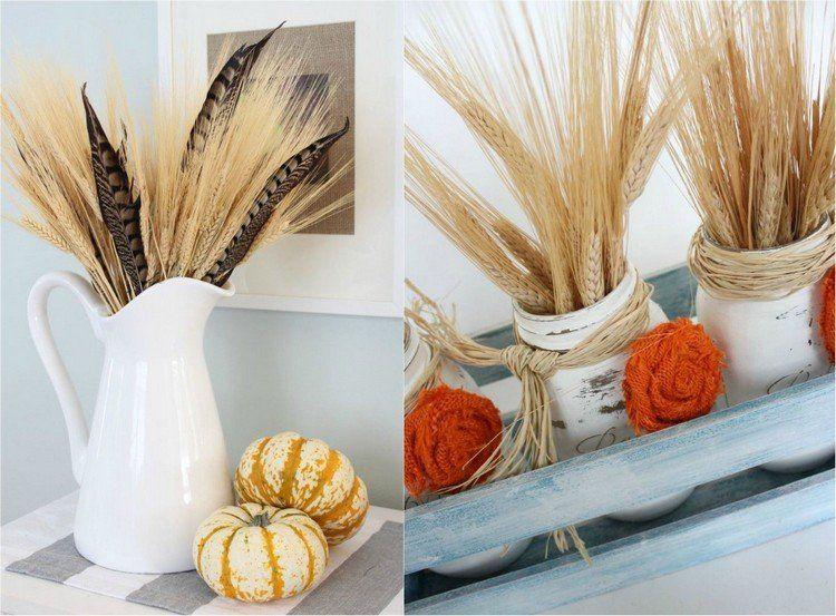 d coration automne pour l action de gr ce en pis de bl 35 id es d coration automne pi de. Black Bedroom Furniture Sets. Home Design Ideas