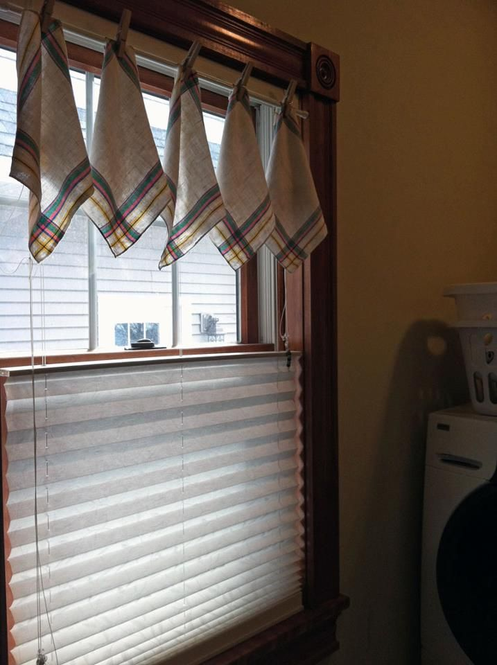 Valance I Made For The Laundry Room Vintage Napkins Held Up With Clothespins