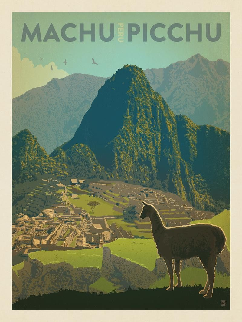 Anderson Design Group World Travel Peru Machu Picchu Vintage Posters Retro Travel Poster Travel Posters