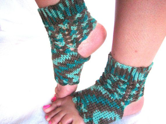Divine: Light and Lacy Yoga Socks crocheted with fine, wool-blend sock yarn, made to order