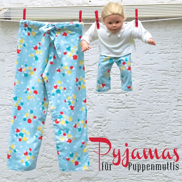 Schlafanzug-Hose für Kind und Puppe (inkl. Anleitung) aus altem Nachthemd / Pyjama trousers for children and dolls (incl. tutorial) made of old nightgown