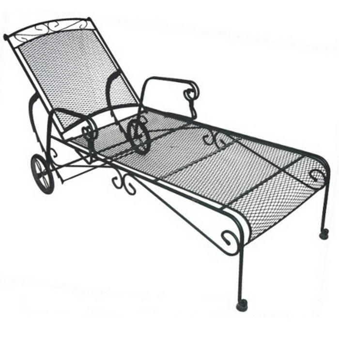 Wrought Iron Chaise Lounge Lounge Chair Outdoor Poolside