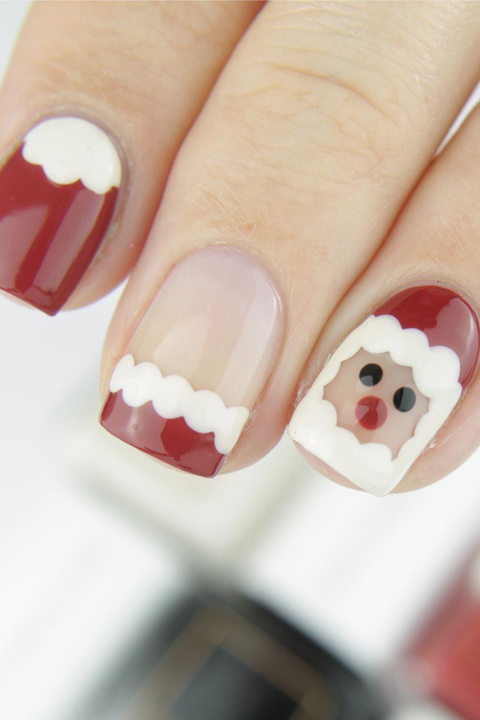 Santa Claus Christmas Nail Art Naildiy Christmas Nails Easy Christmas Nail Art Designs Christmas Nail Designs Easy