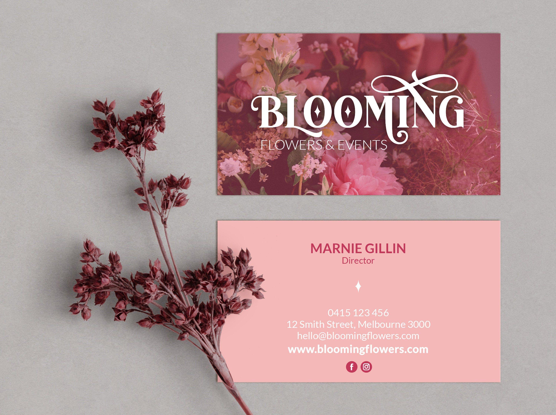 Business Card Design Premade Logo Ready Made Business Cards Etsy Business Card Design Floral Business Cards Business Card Logo Design