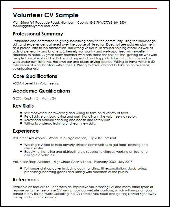 Resume Examples Volunteer Pinterest Resume examples