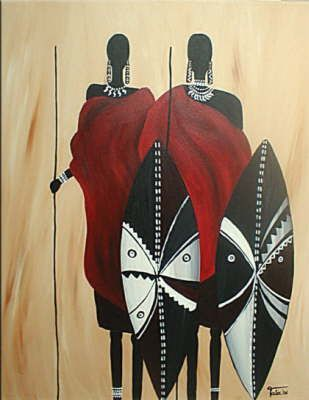 Maasai Natural large Paintings by hand Authentically Made By the MAASAIS