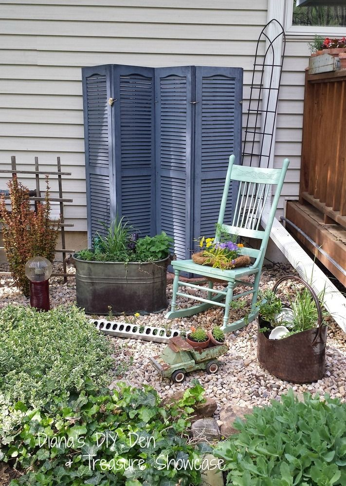 Outdoor Repurposed Shutter Screen Garden Outdoor