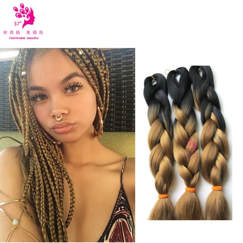 xpressions ombre two tone braid hair black and 27color
