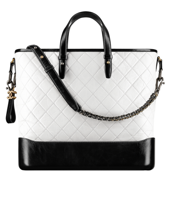 8e7931af3f46e6 CHANEL'S GABRIELLE Large shopping bag, aged calfskin, smooth calfskin,  silver-tone & gold-tone metal-white & black - CHANEL