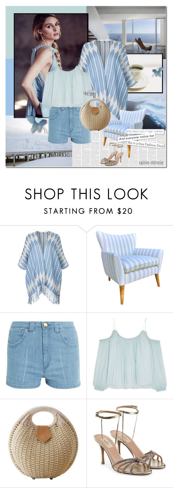 """Blue Summer"" by rainie-minnie ❤ liked on Polyvore featuring BeckSöndergaard, Kim Salmela, Topshop Unique, Elizabeth and James, Valentino and Cathy Waterman"