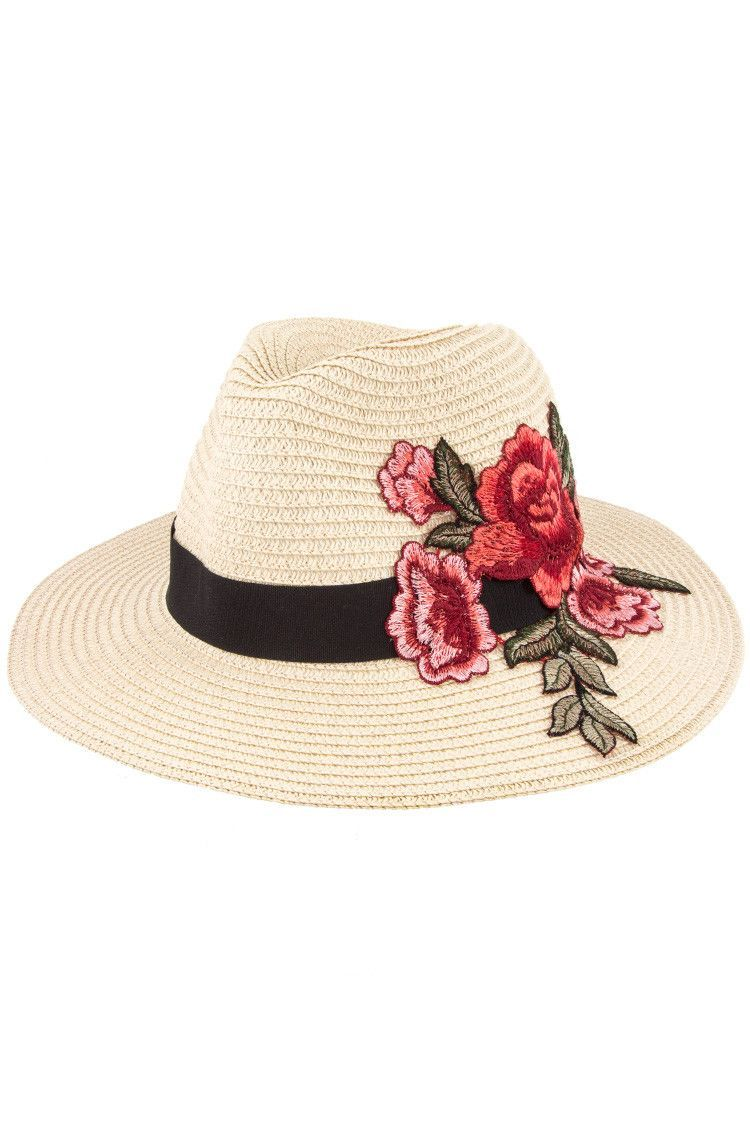 Floral Embroidered Straw Fedora Hat  0342ffa2e8b7