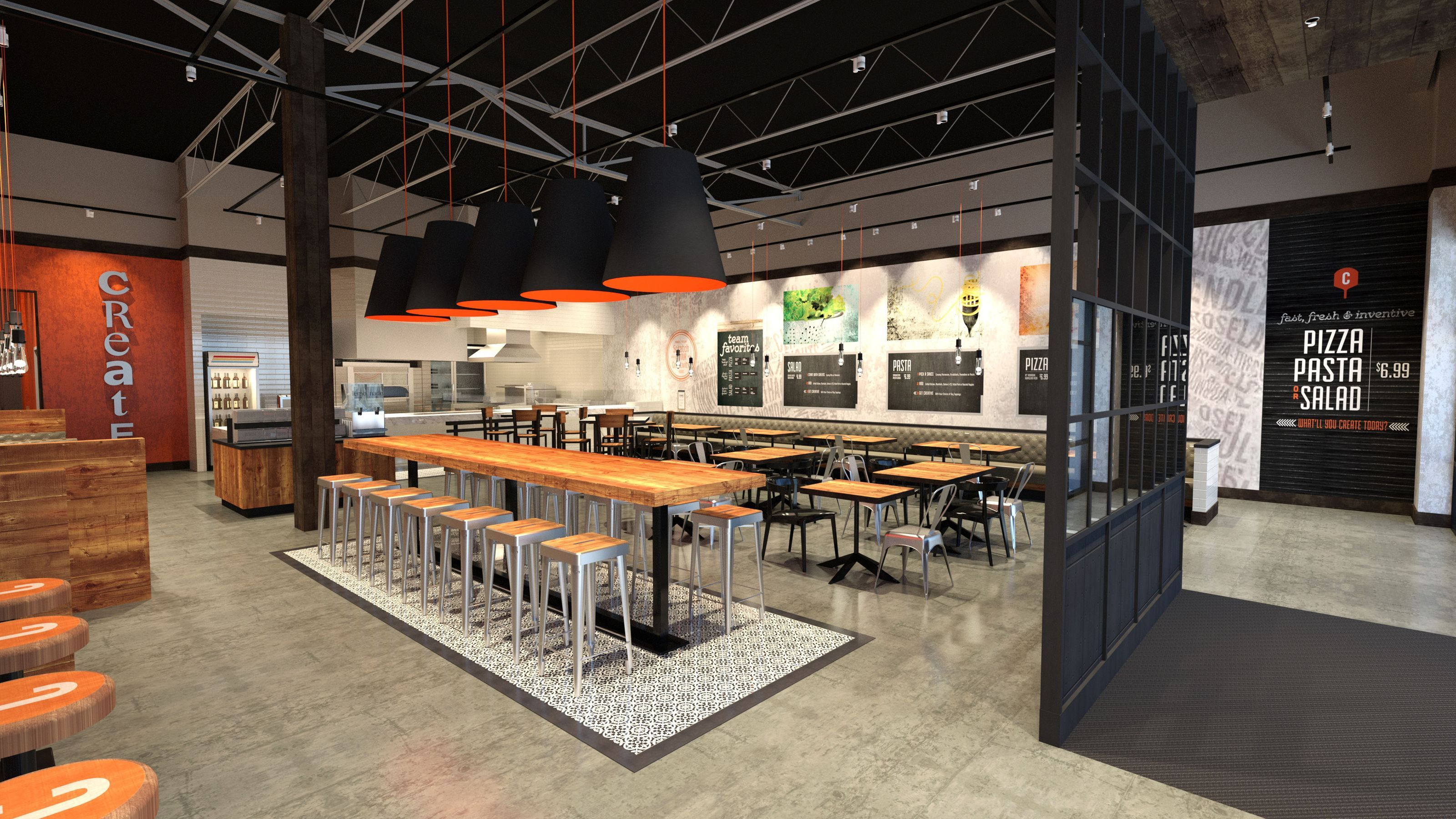 Decoration Fast Food Red Table Korean Fast Casual Restaurant Google Search