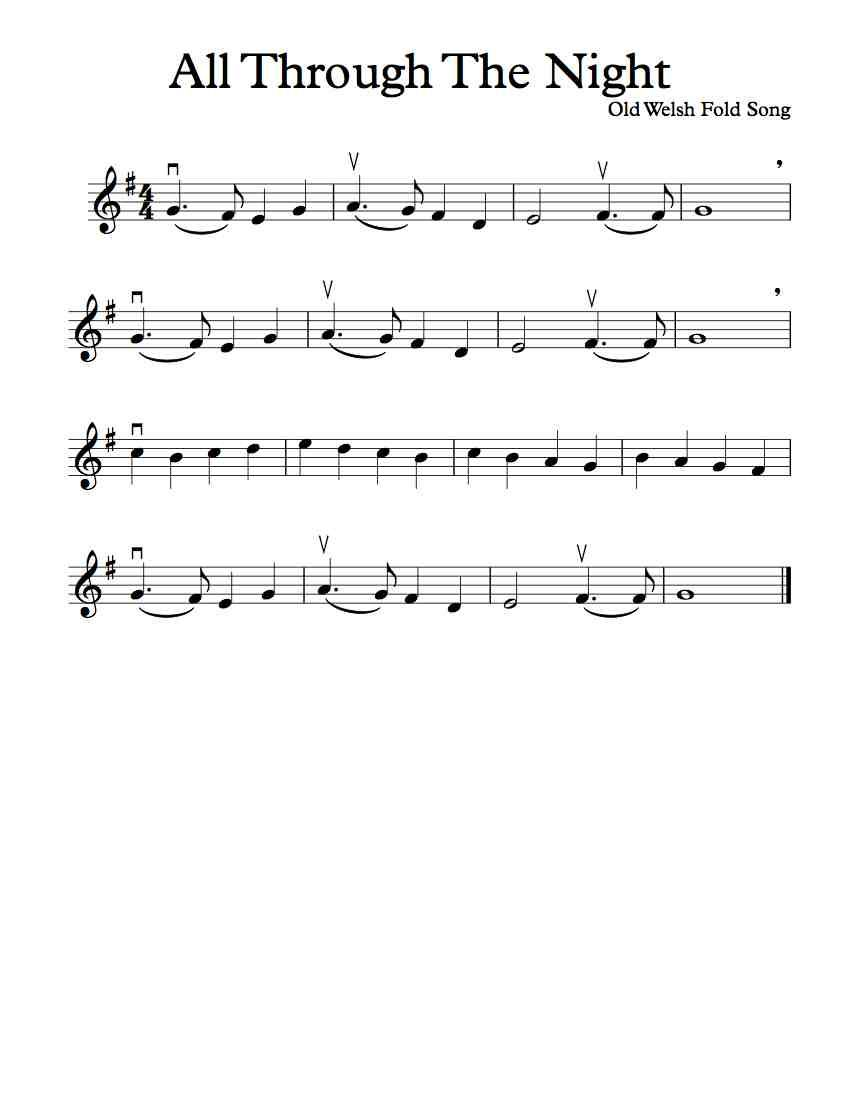 Free Violin Sheet Music - All Through The Night - In D, F, G, and A