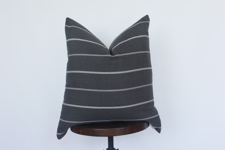 20X20 Grey and White Stripe Pillow Cover, Gray Linen Pillow, Stripe Pillow, Boho Pillow, Modern Grey Pillow, Coastal Beach Pillow